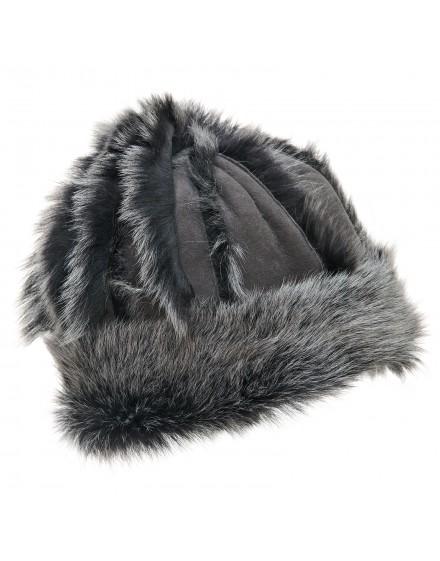 Skórzana czapka Mazepa- szary