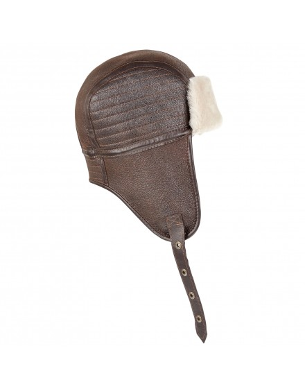 Skórzana czapka Heston- Brązowy