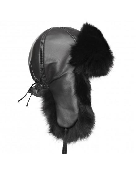 Skórzana czapka Kinga Fox- czarny