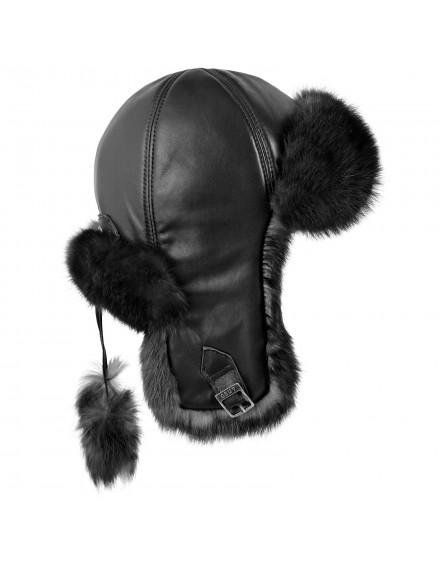 Skórzana czapka Julka Rabbit- czarny