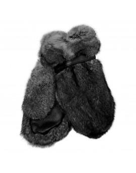 Rękawice futrzane Massa Rabbit- czarny