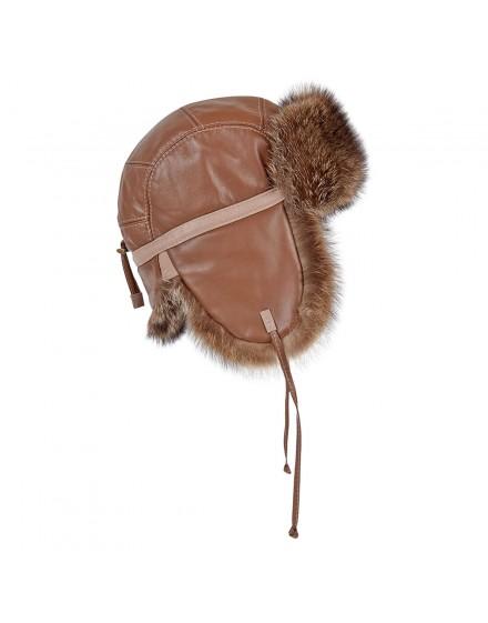 Skórzana czapka Yukon Bis- brązowy