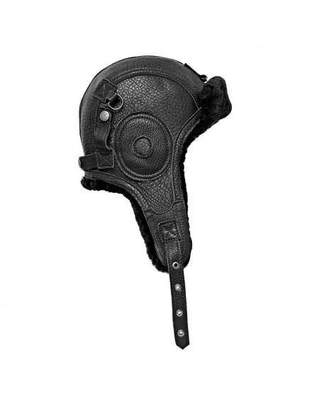 Skórzana czapka Rekrut Merino- czarny