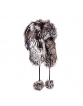 Futrzana czapka Syberia Silver- Srebrny