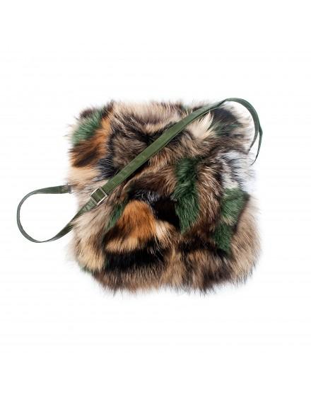 Torebka futrzana Azalia Fox- zielony
