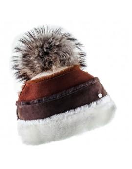 Skórzana czapka Frida- brązowy