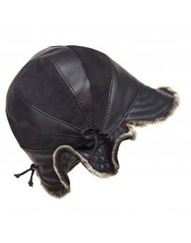 Skórzana czapka Pawie oko Merino- czarny