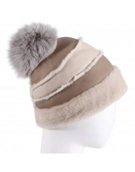 Skórzana czapka Waspa- Beżowo-biały