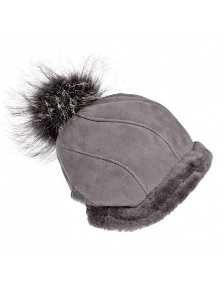 Skórzana czapka Salem- szary