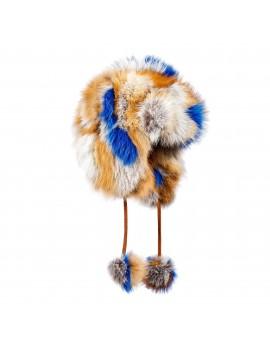Futrzana czapka Meru Patch Fox (Rudy naturalny- niebieski)