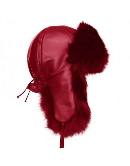 Skórzana czapka Kinga Fox Kid- Czerwony