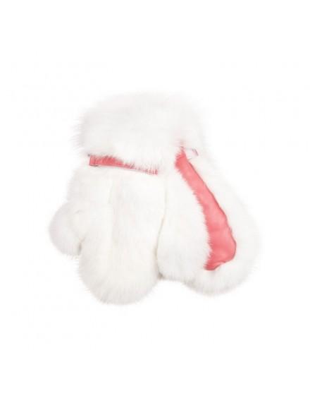 Rękawice futrzane Massa Kid- Czerwony z białym futrem