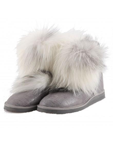 Buty skórzane Clemens- szary