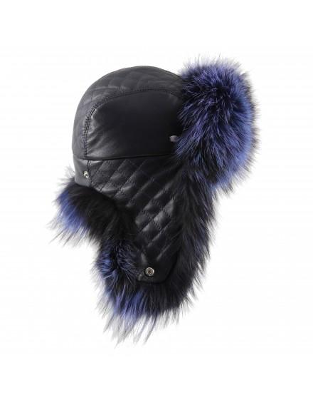 Skórzana czapka Livia fox- granatowy