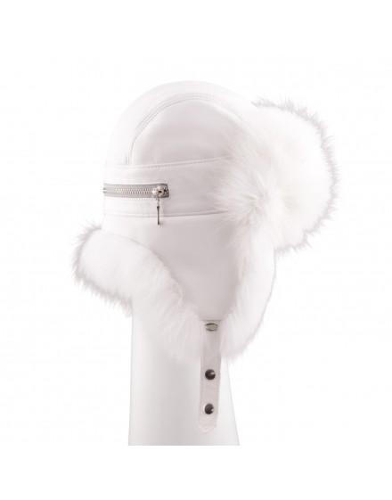 Skórzana czapka Nessa - Biały