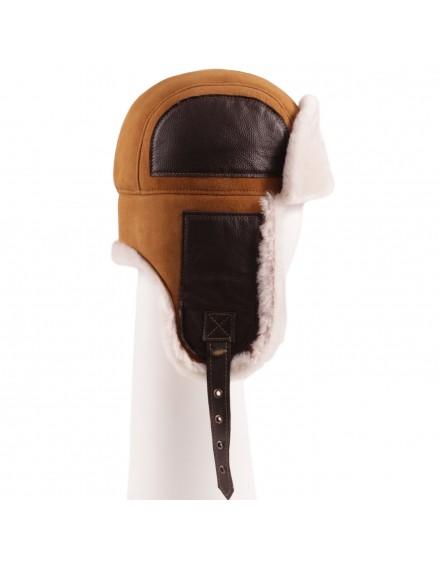 Skórzana czapka Soyer- Rudy