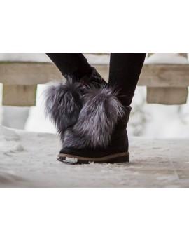 Futrzane przypinki do butów Tina- szary