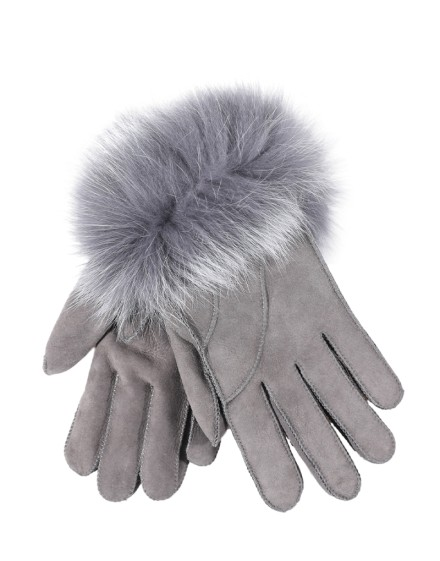 Rękawice skórzane Linda- Szary