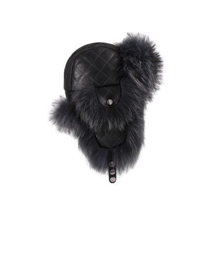 Skórzana czapka Baris- Czarny