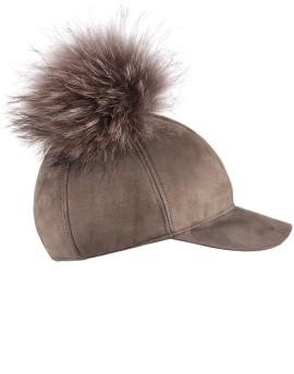 Skórzana czapka Amber BIs- Oliwkowy