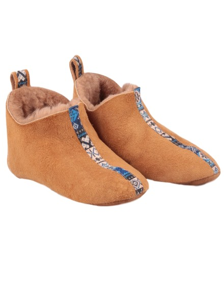 Pantofle skórzane Dakota Kid - rudy