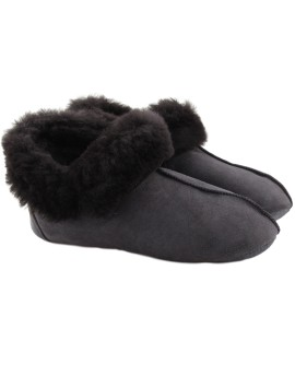 Pantofle skórzane Montana - ciemny szary