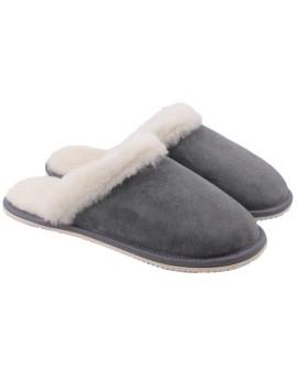 Pantofle skórzane Kala - szary
