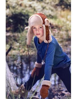 Skórzana czapka Waldek Merino Kid- Rudy naturalny - biały
