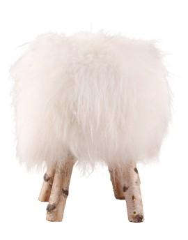 Stołek ze skórą owczą- biały