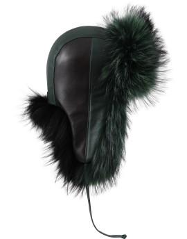 Skórzana czapka Anja - zielono/czarny