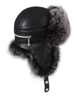 Skórzana czapka Nessa - czarny