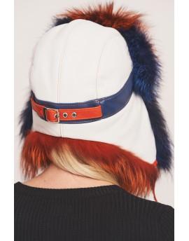Skórzana czapka Denise - biały