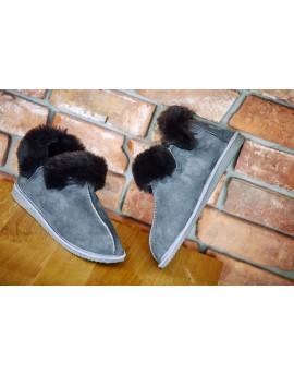 Pantofle skórzane Montana na gumowej podeszwie- grey