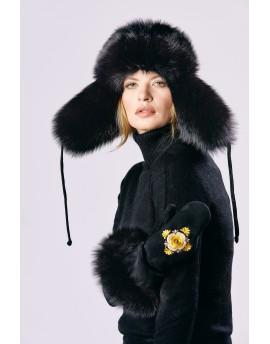 Skórzana czapka Flori- czarny