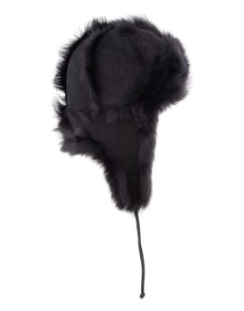 Skórzana czapka Pilo- czarny