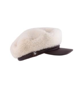 Futrzana czapka Gwen- ecru