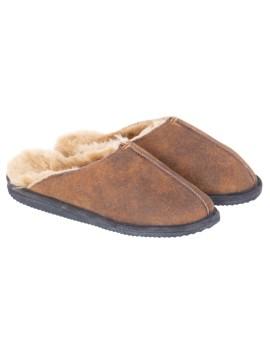 Pantofle skórzane Tobbi z gumową podeszwą - brąz