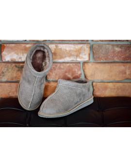 Pantofle skórzane Forta z gumową podeszwą - beż