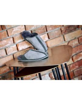Pantofle skórzane Adamo z gumową podeszwą - szary