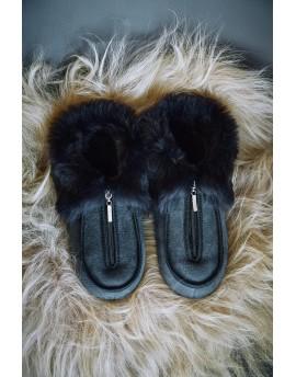 Pantofle skórzane Austria z suwakiem na welurowej podeszwie - szary
