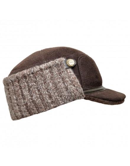 Skórzana czapka Wiktor- brązowy