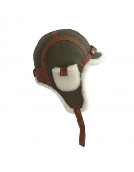 Skórzana czapka Olaf Bis- oliwkowy