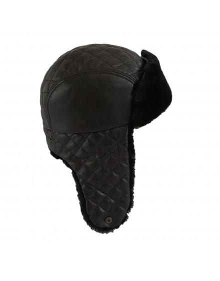 Skórzana czapka Livia Merino- czarny