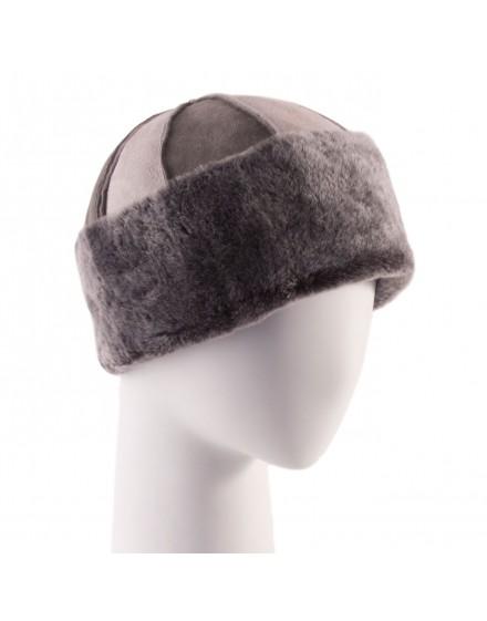 Skórzana czapka Brodi- szary