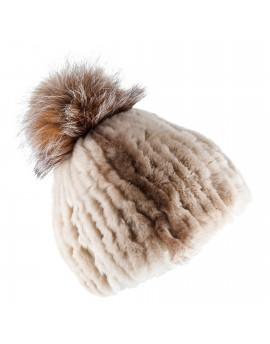 Futrzana czapka Ronda Pom- (Czarno-biały)