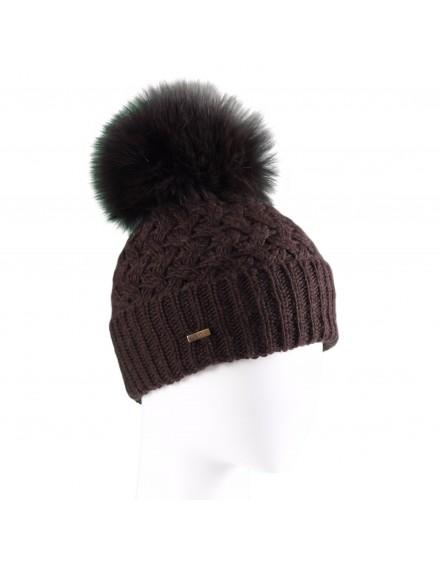 Dzianinowa czapka Nicol- brązowy