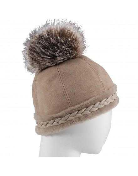 Skórzana czapka Hopla Braid- Beż