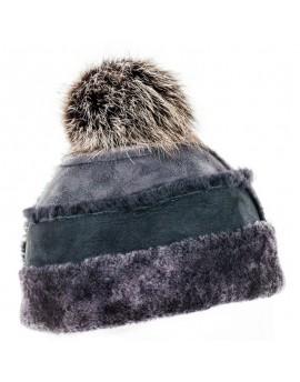 Skórzana czapka Frida- szary