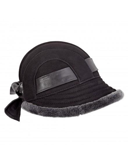 Skórzana czapka Gracja- czarny