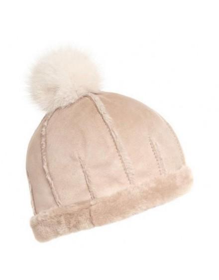 Skórzana czapka Lugo Kid- Beż